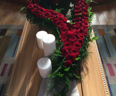 begravning blommor hälsning